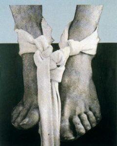 1976. Pies vendados. Óleo sobre emulsión fotográfica y tela. 250 x 200 cm. Colección Museo del Vaticano.