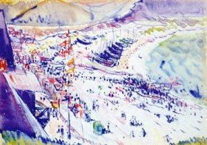 1912. Escena costera. Acuarela.