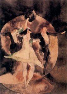 1916. Vodevil, la bailarina de verde. Acuarela.