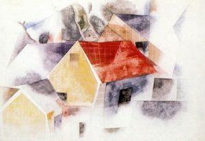 1917. Casas con tejados rojos. Acuarela.