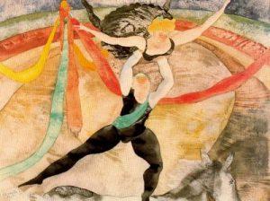 1917. El circo. Acuarela.
