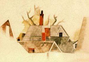 1918. Chimeneas rojas. Acuarela y lápiz sobre papel.