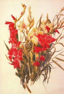 1928. Gladiolos rojos y amarillos. Acuarela sobre papel.