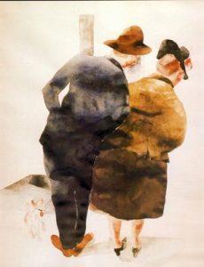 1934. Hombre y mujer, Provincetown. Acuarela y lápiz sobre papel.
